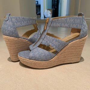 Michael Kors Heels- Blue with MK pattern